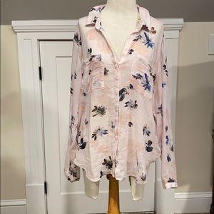 Cloth & stone pink floral print shirt